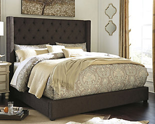 Norrister Queen Upholstered Bed, Dark Brown, rollover