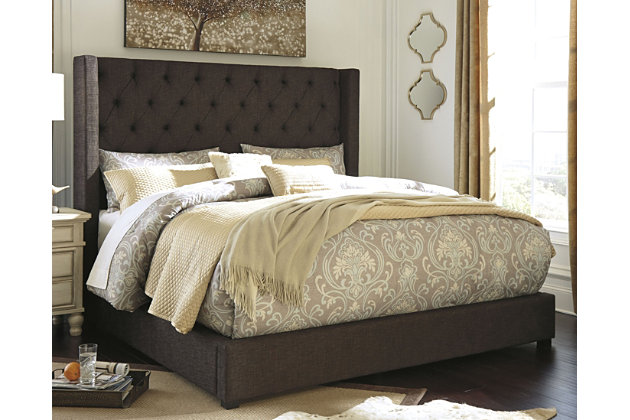 Norrister Queen Upholstered Bed, Dark Brown, large