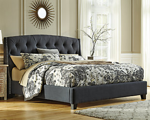 Kasidon Queen Tufted Bed, Dark Gray, rollover