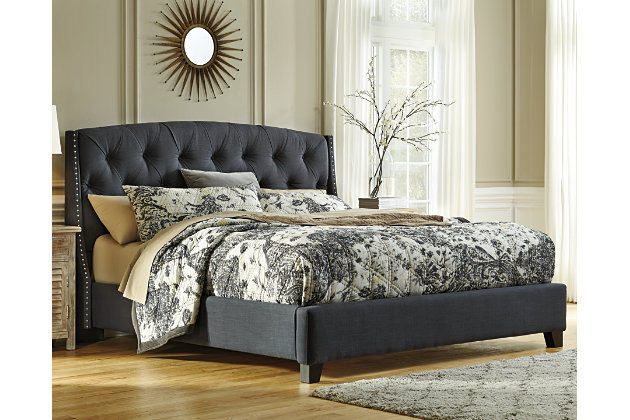 Kasidon Queen Tufted Bed, Dark Gray, Large ...