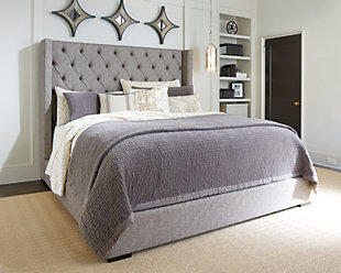 Charmant ... Large Sorinella Queen Upholstered Bed, Gray, Rollover