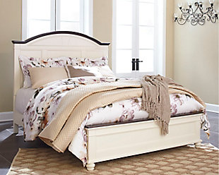 Woodanville Queen Panel Bed, White/Brown, rollover