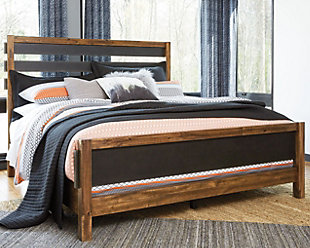 Harlynx Queen Panel Bed, Brown/Gray, rollover