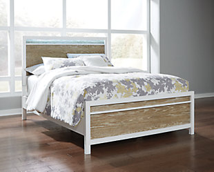 Gardomi Queen Panel Bed, White/Light Brown, rollover