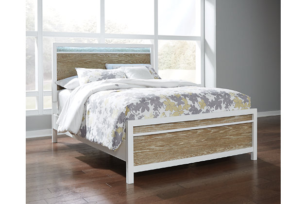 Gardomi Queen Panel Bed, White/Light Brown, large
