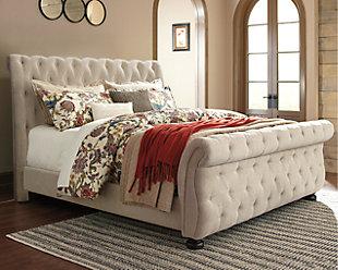 Willenburg California King Upholstered Sleigh Bed, Linen, rollover