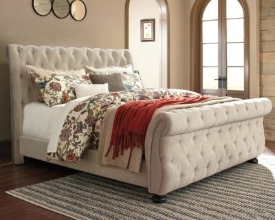 Willenburg Queen Upholstered Sleigh Bed, Linen, large