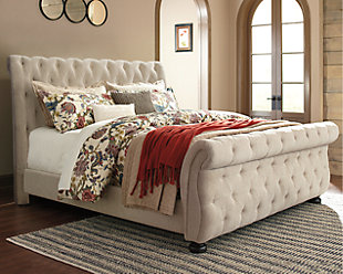 Willenburg Queen Upholstered Sleigh Bed, Linen, rollover