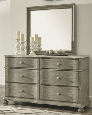 Ashley Marleny Dresser and Mirror, Gray/Whitewash