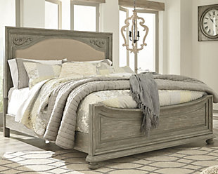 Marleny Queen Panel Bed, Gray/Whitewash, rollover