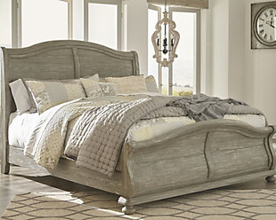 Marleny Queen Sleigh Bed, Gray/Whitewash, rollover