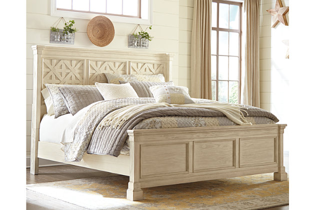 Bolanburg King Panel Bed, Antique White, large