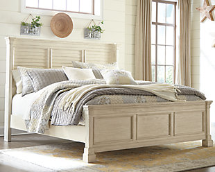 Bolanburg Queen Louvered Bed, Antique White, rollover