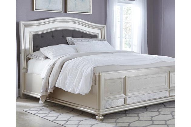Coralayne King Panel Bed, Silver, large