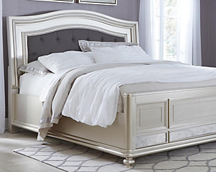 Coralayne Queen Panel Bed, Silver, rollover