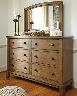 Medium Brown Wood Dresser And Mirror Set