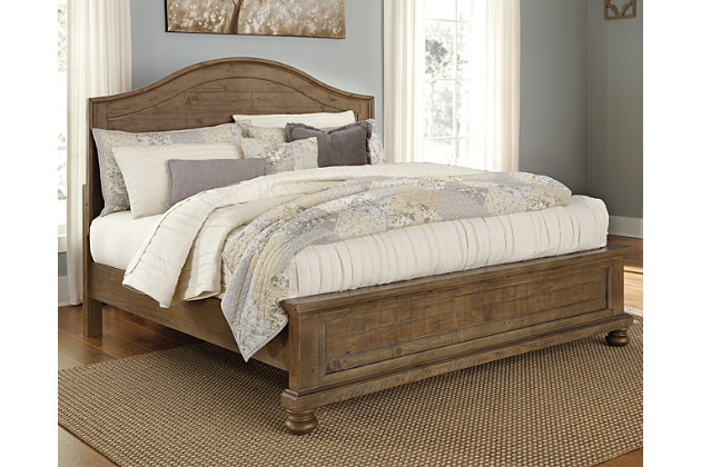 Trishley Queen Panel Bed, Light Brown, large
