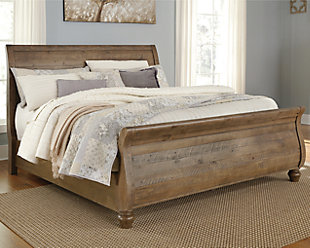 Trishley Queen Sleigh Bed, Light Brown, large