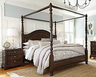 Lavidor King Canopy Bed, Brown, rollover