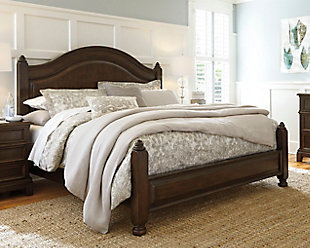 Lavidor King Poster Bed, Brown, rollover
