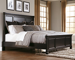 Greensburg King Panel Bed, Black, rollover