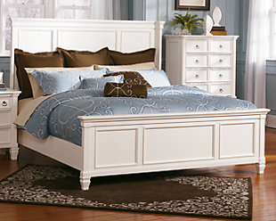 Prentice Queen Panel Bed, White, rollover