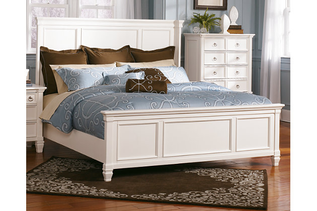 Pice Queen Panel Bed White Large