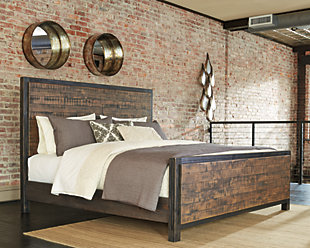 Wesling Queen Panel Bed, Rustic Brown, rollover