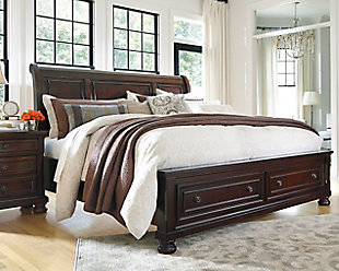 Large Porter Queen Sleigh Bed Rustic Brown Rollover
