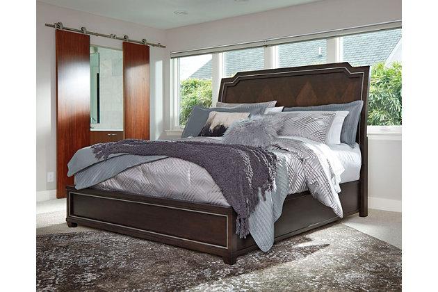 Zimbroni Cal-King Panel Bed, Brown, large