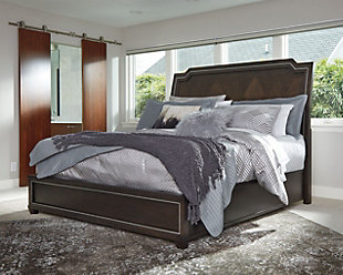 Zimbroni King Panel Bed, Brown, rollover