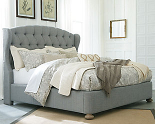 Ollesburg Queen Upholstered Bed, Gray, rollover