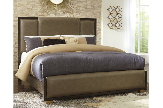 Chaliene California King Panel Bed, Brown, large