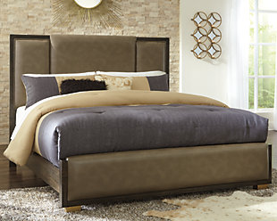 Chaliene Queen Upholstered Panel Bed, Light Brown, large