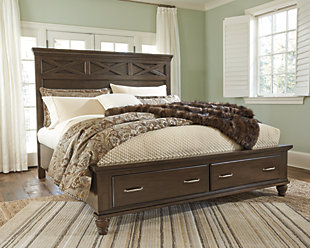 Brossling Queen Panel Bed with Storage, Dark Brown, rollover