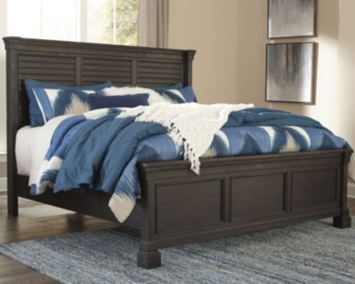 King Louvered Bed Black Gray Creek Product Photo 784