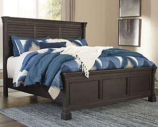 Tyler Creek Queen Louvered Bed, Black/Gray, rollover