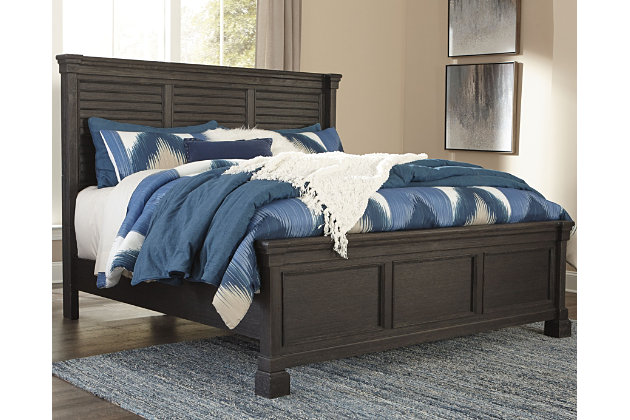 Tyler Creek Queen Louvered Bed, Black/Gray, large