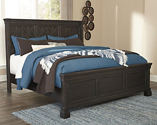 Tyler Creek Queen Panel Bed, Black/Gray, rollover