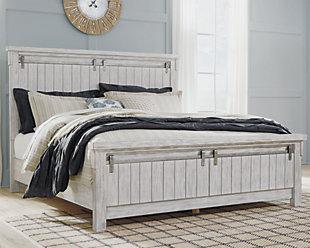 Brashland California King Panel Bed, White, rollover