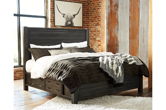 Baylow King Panel Bed with Storage, Black, large