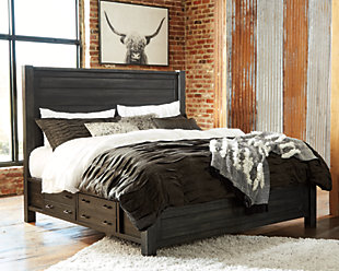 Baylow Queen Panel Bed with 4 Storage Drawers, Black, rollover