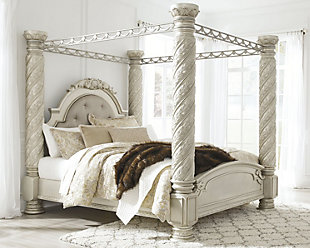 Cassimore King Poster Bed with Canopy, Silver, rollover