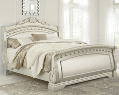King Sleigh Bed Pearl Silver Cal Product Photo