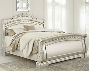 Cassimore Queen Sleigh Bed, Pearl Silver, rollover