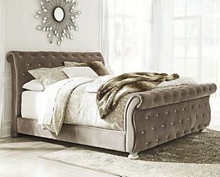 Cassimore Queen Upholstered Bed, Gray, rollover