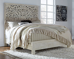 Bantori Queen Panel Bed, White, rollover