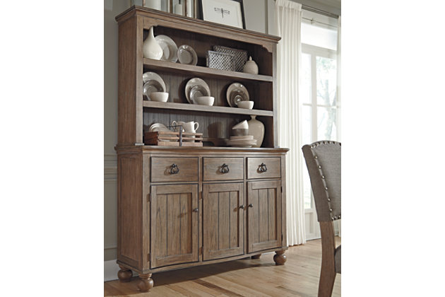Grayish Brown Tanshire Server And Hutch View 1 Dining Room
