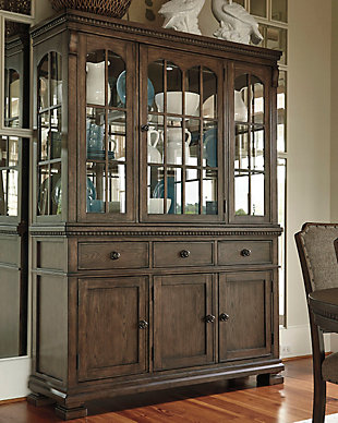 Beautifully Detailed Formal Dining Room Buffet And China Hutch With Built  In Lighting