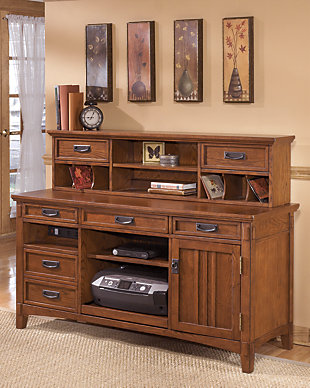 Cross Island 2-Piece Home Office Large Credenza with Low Hutch, , rollover